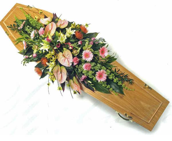 Peach Lily Coffin spray