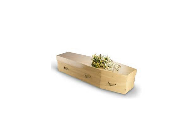 cardboard coffin. centre