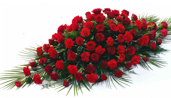 Rose and carnation coffin spray